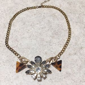 CRYSTAL & FAUX TORTOISE SHELL NECKLACE